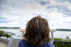 children, kids, hair, horizontal, sky, tower viewer, binoculars